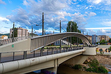 Bridge separating the Serbian enclave from the Albanian part of Mitrovica, Kosovo, Europe