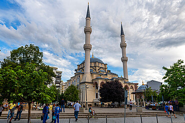 Central Mosque in the Albanian side of the separated town of Mitrovica, Kosovo, Europe