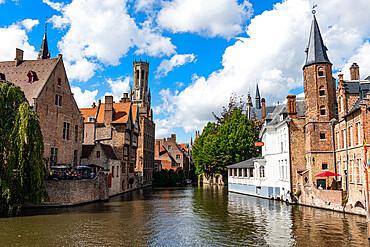Rozenhoedkaai with the belfry, Bruges, UNESCO World Heritage Site, Belgium, Europe