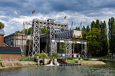 Houdeng-Goegnies Lift No 1, UNESCO World Heritage Site, Boat Lifts on the Canal du Centre, La Louviere, Belgium, Europe