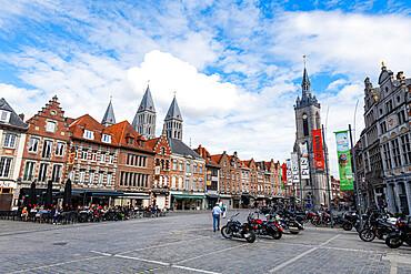 Market square and Tournai Cathedral, UNESCO world Heritage Site, Tournai, Belgium, Europe