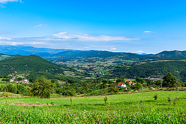 View over the landscape around Novi Pazar, southern Serbia, Europe
