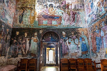 Beautiful wall paintings, Sopocani Monastery, UNESCO World Heritage Site, Novi Pazar, Serbia, Europe