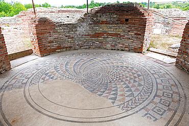 Mosaic floor, ancient Roman ruins of Gamzigrad, UNESCO World Heritage Site, Serbia, Europe