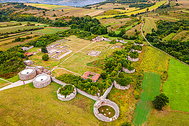Aerial of the ancient Roman ruins of Gamzigrad, UNESCO World Heritage Site, Serbia, Europe