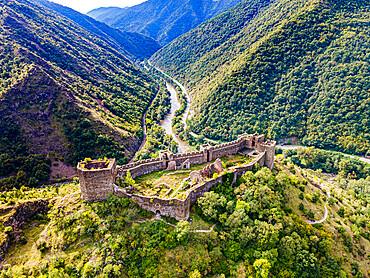 Aerial of the Maglic Castle, Kaljevo, Serbia, Europe