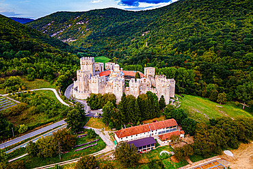 Aerial of the fortified Manasija Monastery, Serbia, Europe