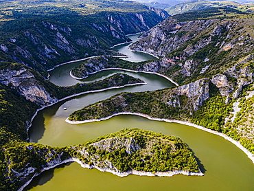 Uvac River meandering through the mountains, Uvac Special Nature Reserve, Serbia, Europe