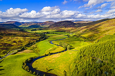 Aerial of the beautiful scenery around Dalnaglar Castle, Glenshee, Perthshire, Scotland, United Kingdom, Europe