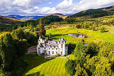 Aerial of Dalnaglar Castle, Glenshee, Perthshire, Scotland, United Kingdom, Europe