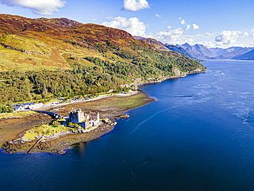 Aerial of the Eilean Donan Castle, Highlands, Scotland, United Kingdom, Europe