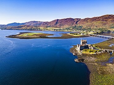 Aerial of the Eilean Donan Castle, Highlands, Scotland, United Kingdom, Europe