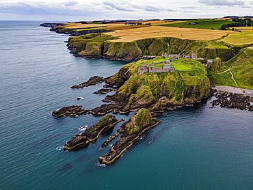 Aerial of Dunnottar Castle, Stonehaven, Aberdeenshire, Scotland, United Kingdom, Europe