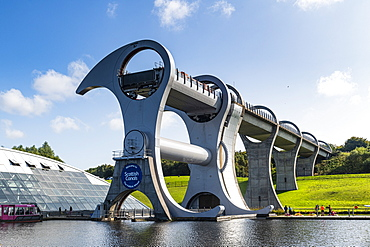 Falkirk Wheel rotating boat lift, Falkirk, Scotland, United Kingdom, Europe