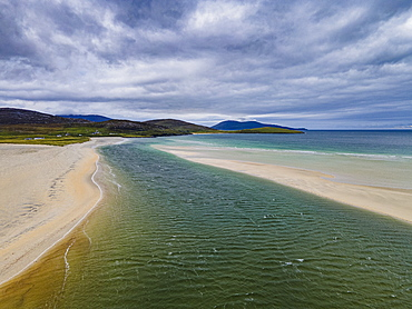 Aerial of Luskentyre Beach, Isle of Harris, Outer Hebrides, Scotland, United Kingdom, Europe