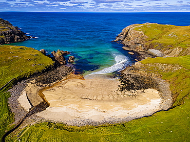 Aerial of Dailbeag beach, Isle of Lewis, Outer Hebrides, Scotland, United Kingdom, Europe