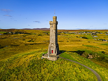 Aerial of the 1st World War Memorial, Isle of Lewis, Outer Hebrides, Scotland, United Kingdom, Europe