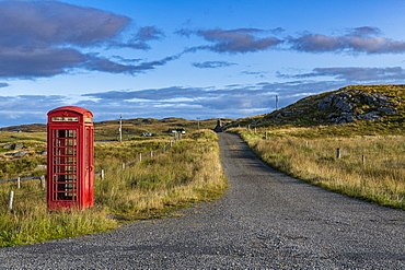 Old telephone box, Isle of Lewis, Outer Hebrides, Scotland, United Kingdom, Europe