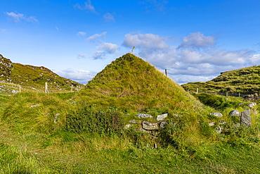 Iron Age house on Bosta beach, Isle of Lewis, Outer Hebrides, Scotland, United Kingdom, Europe