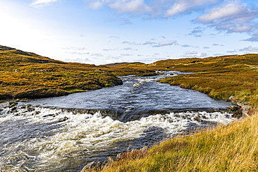 River in the heart of the Isle of Lewis, Outer Hebrides, Scotland, United Kingdom, Europe