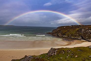 Rainbow over a beach along the N500 (NC500) (North Coast 500), Scotland, United Kingdom, Europe