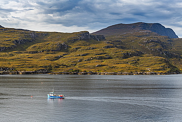 Fishing boat, Bay of Ullapool, Ross and Cromarty, Highlands, Scotland, United Kingdom, Europe