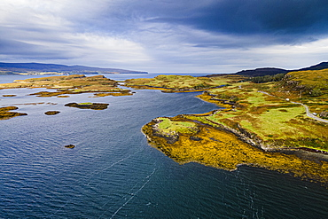 Aerial of Loch Dunvegan, Isle of Skye, Inner Hebrides, Scotland, United Kingdom, Europe