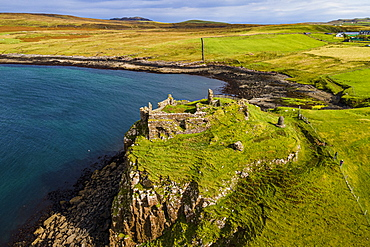 Aerial of Duntulm Castle, Isle of Skye, Inner Hebrides, Scotland, United Kingdom, Europe