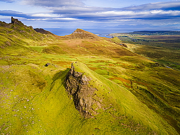 Aerial of the rugged mountain landscape of the Quiraing, Isle of Skye, Inner Hebrides, Scotland, United Kingdom, Europe