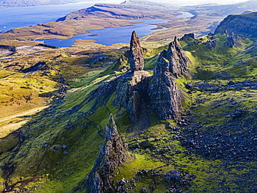 Aerial of the Storr pinnacle, Isle of Skye, Inner Hebrides, Scotland, United Kingdom, Europe