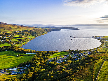 Aerial of Uig bay, Isle of Skye, Inner Hebrides, Scotland, United Kingdom, Europe