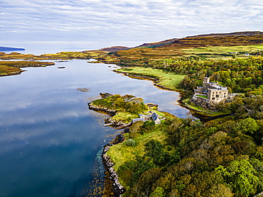 Aerial of Dunvegan Castle, Isle of Skye, Inner Hebrides, Scotland, United Kingdom, Europe