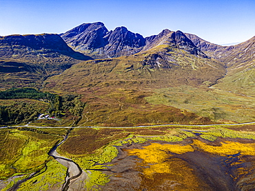 Aerial of the Black Cuillin ridge, Elgol, Isle of Skye, Inner Hebrides, Scotland, United Kingdom, Europe