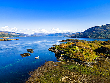 Aerial of Caisteal Maol, Kyleakin, Isle of Skye, Inner Hebrides, Scotland, United Kingdom, Europe