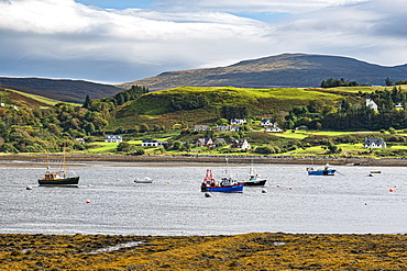 View over the bay of Uig, Isle of Skye, Inner Hebrides, Scotland, United Kingdom, Europe