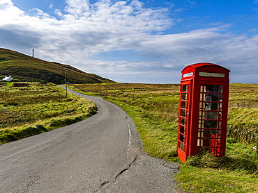 Remote red phone booth, Isle of Skye, Inner Hebrides, Scotland, United Kingdom, Europe