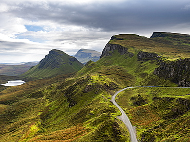 Mountain scenery, Quiraing landslip, Isle of Skye, Inner Hebrides, Scotland, United Kingdom, Europe