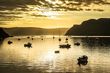 Sunrise in the harbour of Portree, Isle of Skye, Inner Hebrides, Scotland, United Kingdom, Europe