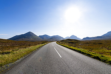 Road leading into the Black Cuillin ridge, Isle of Skye, Inner Hebrides, Scotland, United Kingdom, Europe
