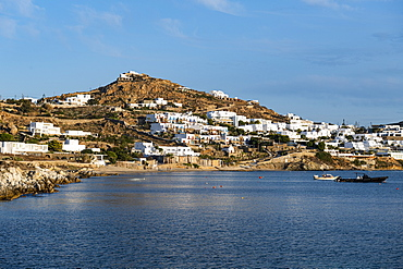 White washed houses over Agios Ioannis Beach, Mykonos, Cyclades, Greek Islands, Greece, Europe