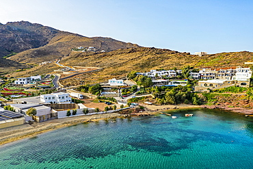 Aerial of Panormos beach, Mykonos, Cyclades, Greek Islands, Greece, Europe