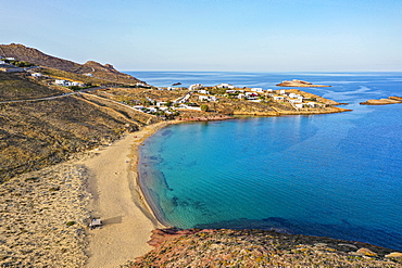 Aerial of Agios Sostis beach, Mykonos, Cyclades, Greek Islands, Greece, Europe
