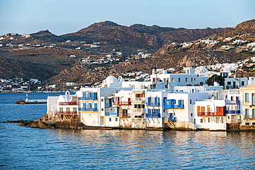 Little Venice at sunset, Horta, Mykonos, Cyclades, Greek Islands, Greece, Europe