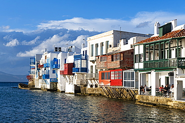 Little Venice, Horta, Mykonos, Cyclades, Greek Islands, Greece, Europe