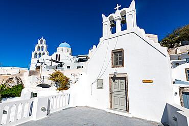 Whitewashed church in Pyrgos, Santorini, Greece