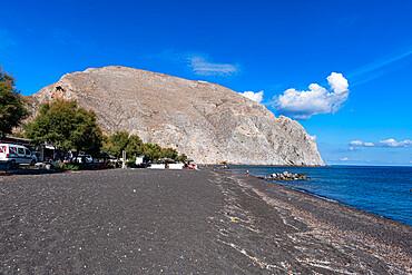 Black lava beach in Perissa, Santorini, Greece