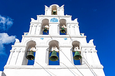 Bell tower, traditional village of Megalochori, Santorini, Greece