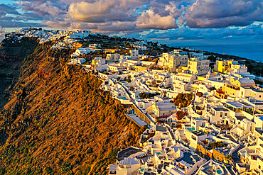 Aerial of Fira at sunset, Santorini, Greece