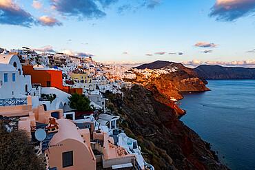 Whitewashed architecture at sunset, Oia, Santorini, Greece
