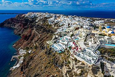 Aerial of Oia, Santorini, Greece